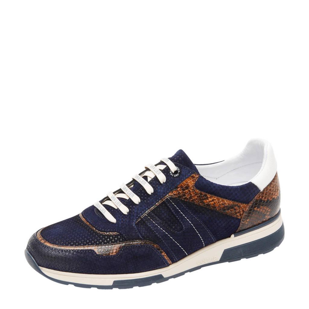 Van Lier Positano  suède sneakers met slangenprint donkerblauw, Blauw