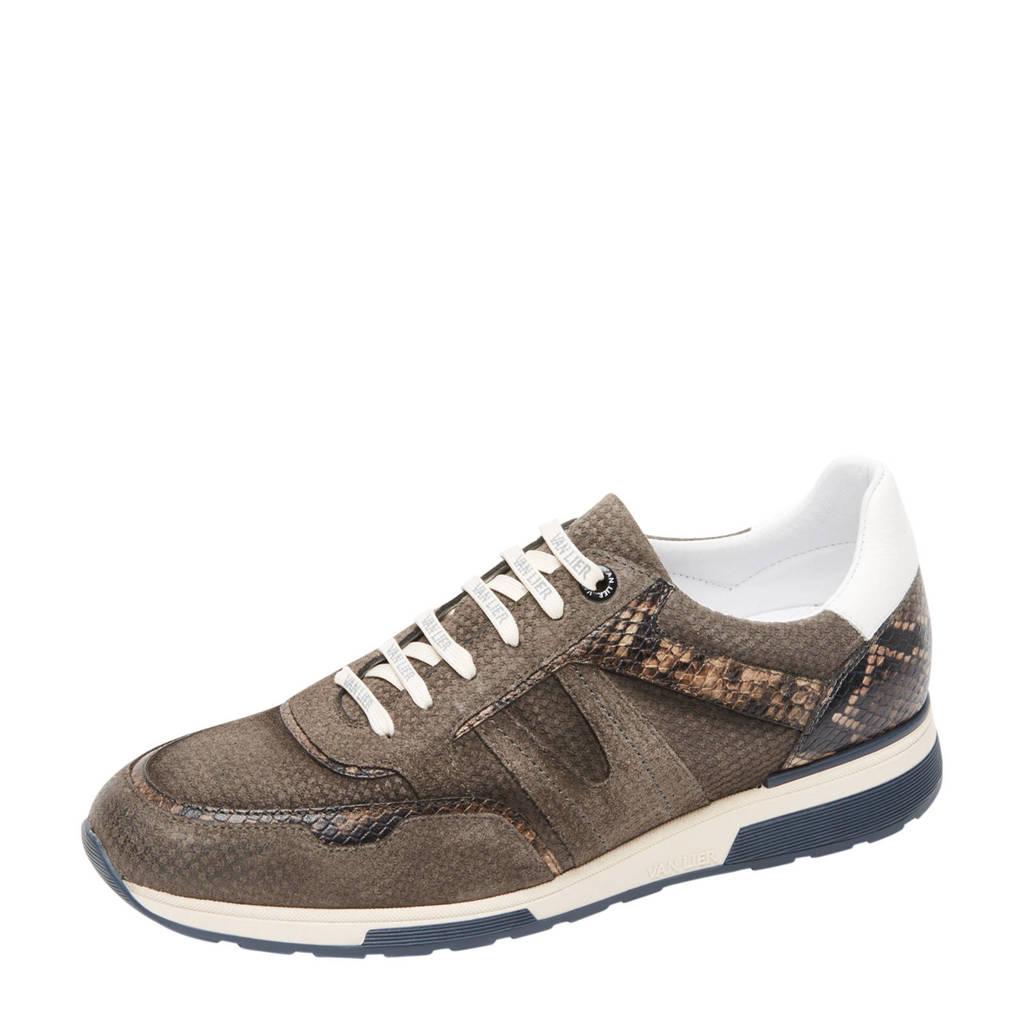 Van Lier Positano  suède sneakers met slangenprint grijs, Grijs