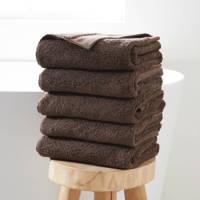 Wehkamp Home handdoek hotelkwaliteit (set van 5) (50x100 cm), Donkerbruin