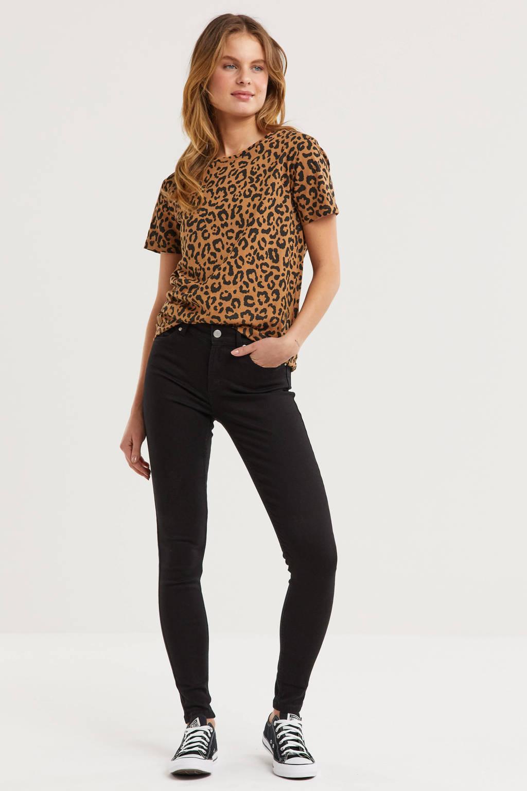 anytime mid rise skinny jeans zwart, Zwart