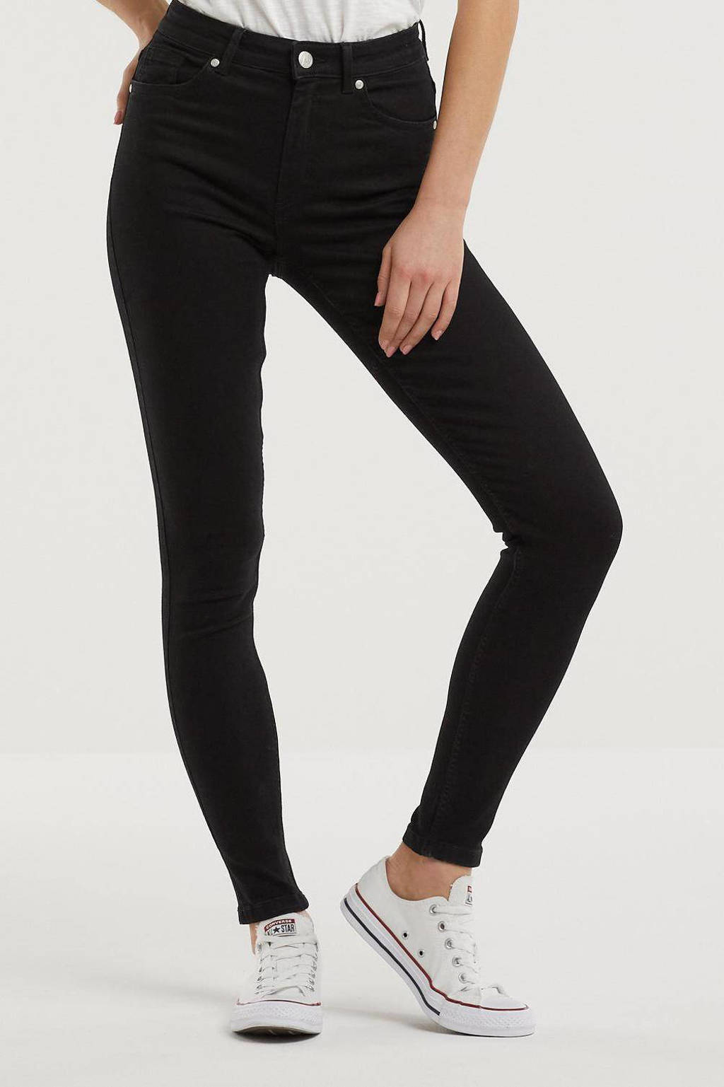 anytime high waist skinny jeans, Zwart