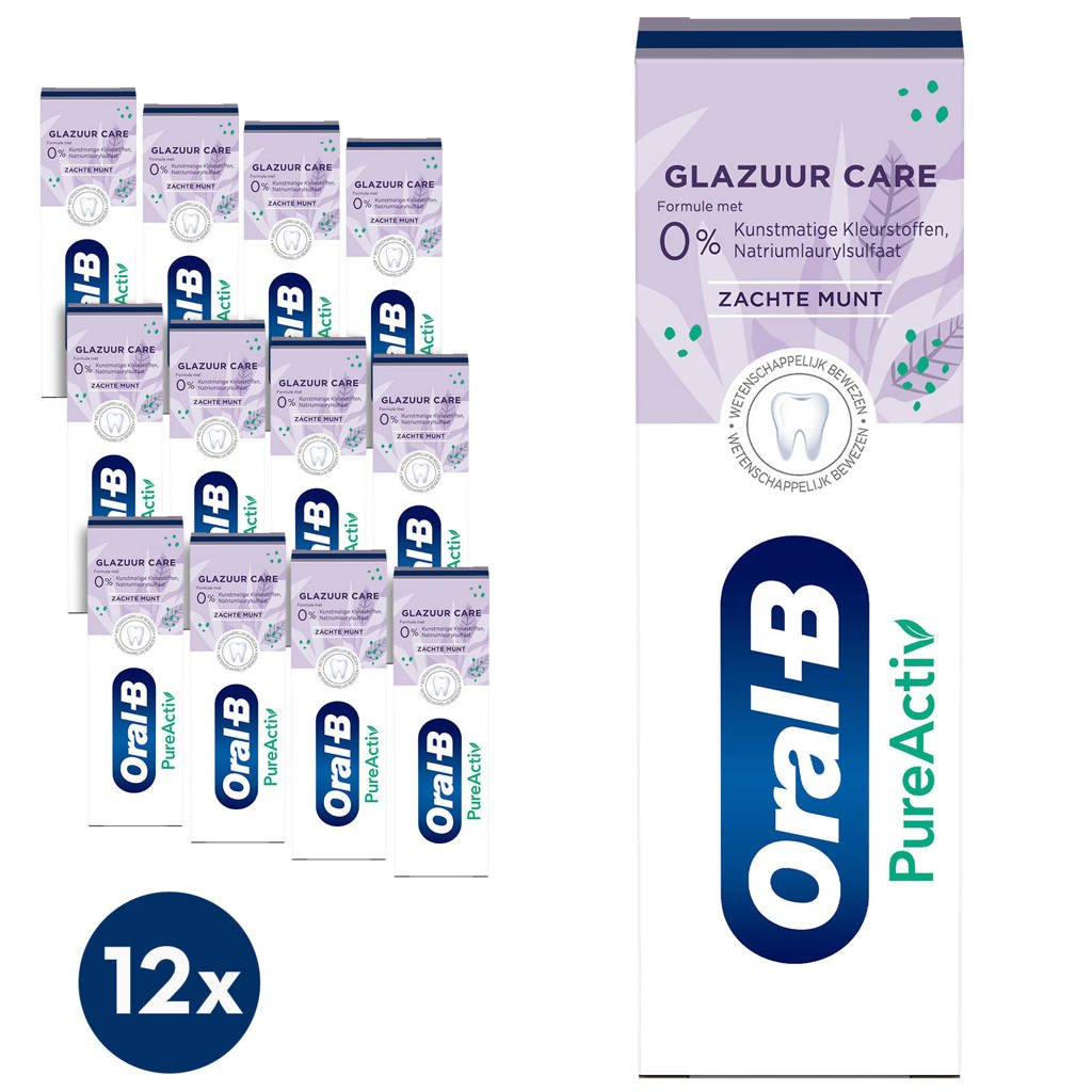 Oral-B PureActiv Glazuur Care tandpasta - 12 x 75 ml