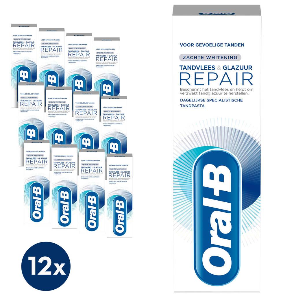 Oral-B Tandvlees & Glazuur Repair Zachte Whitening tandpasta - 12 x 75 ml