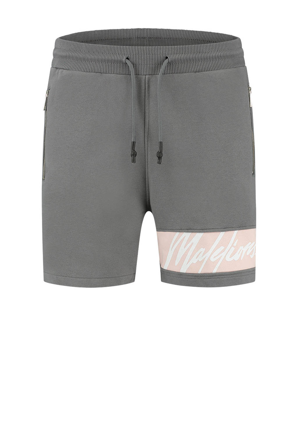 Malelions slim fit sweatshort met logo grijs/lichtroze, Grijs/lichtroze
