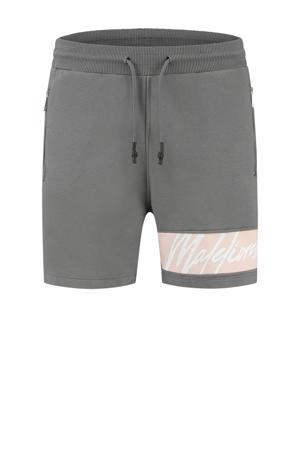 slim fit sweatshort met logo grijs/lichtroze