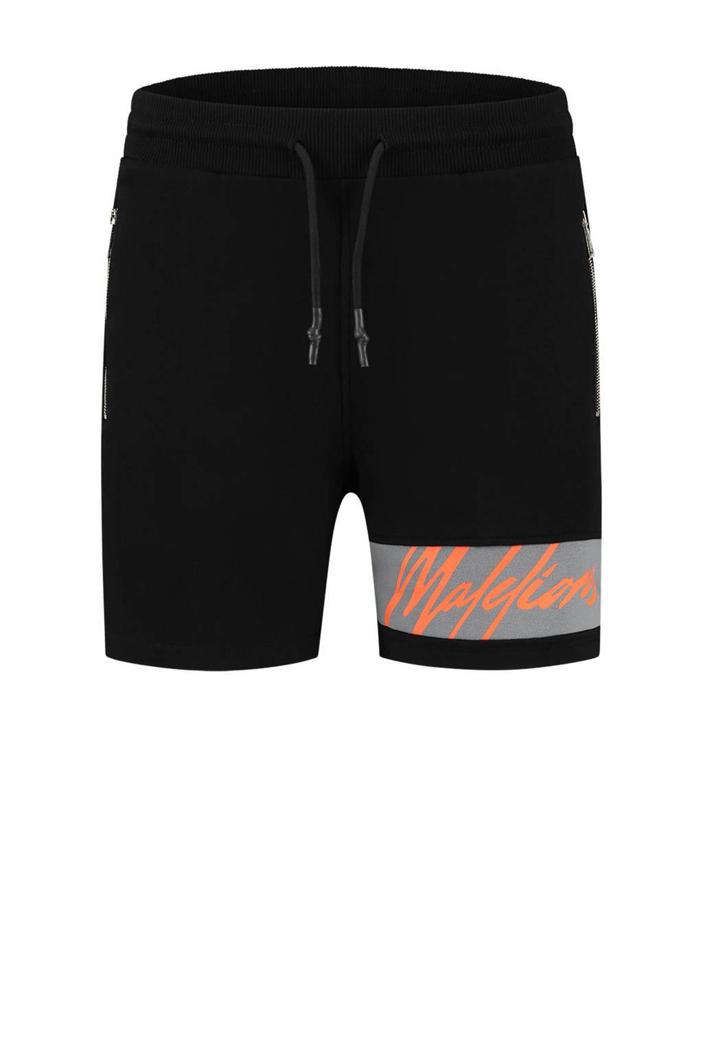 Malelions slim fit sweatshort met logo zwart/neon oranje, Zwart/neon oranje