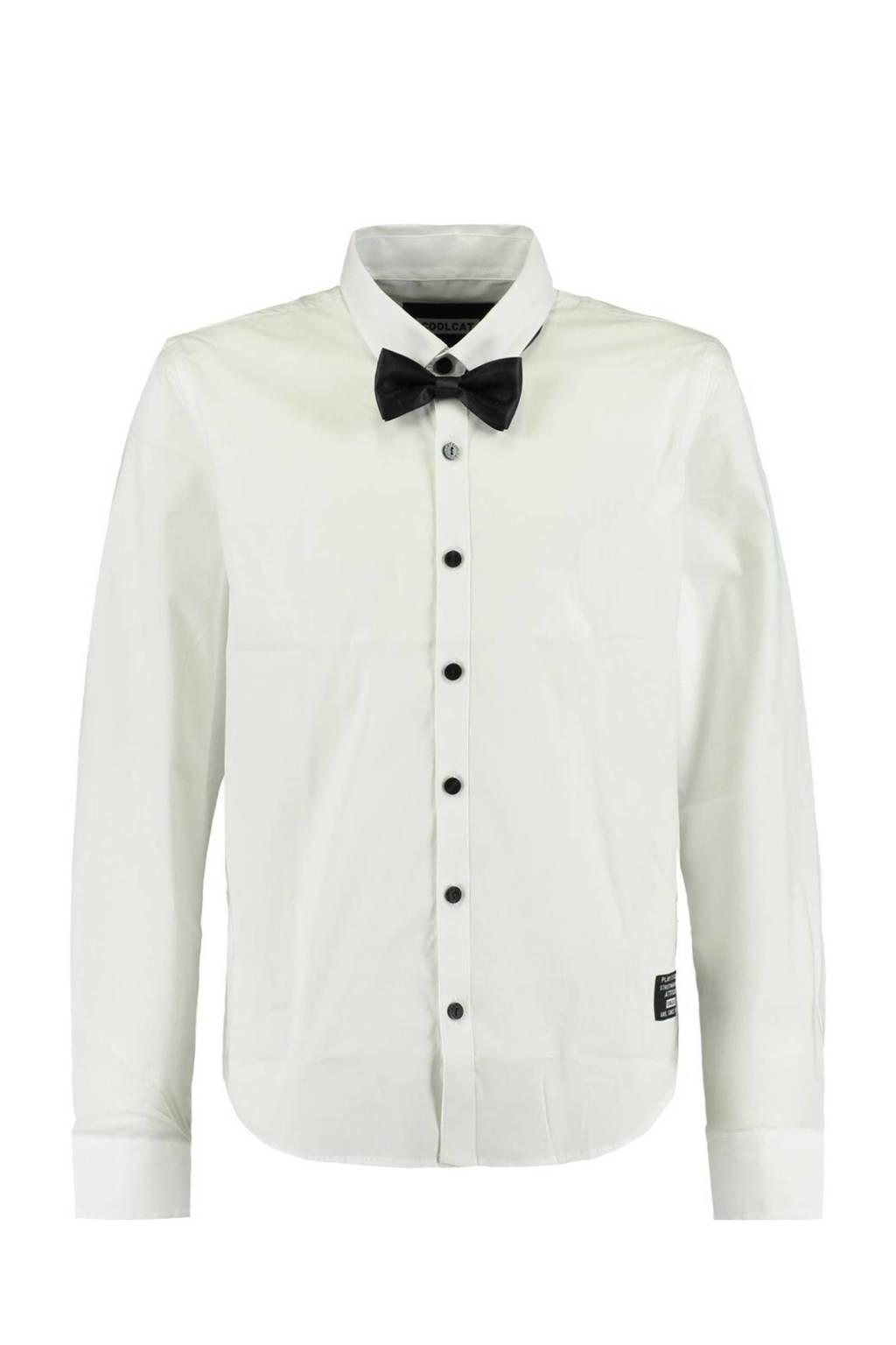 CoolCat Junior overhemd Bob met afneembare strik wit/zwart, Wit