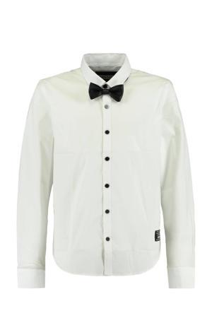 overhemd Bob met afneembare strik wit/zwart