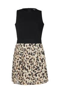 Jill & Mitch by Shoeby jurk Name met panterprint zwart/beige/bruin, Zwart/beige/bruin