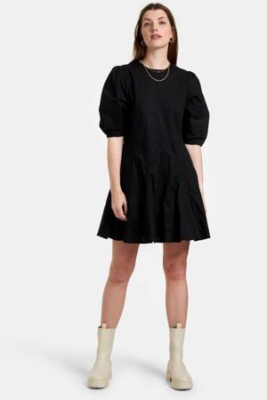trapeze jurk Great met volant zwart