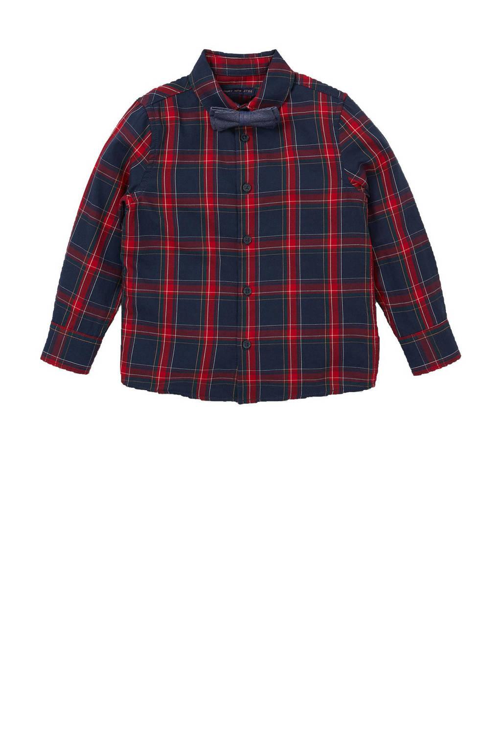 C&A Palomino geruit overhemd met verstelbare strik donkerblauw/rood, Donkerblauw/rood