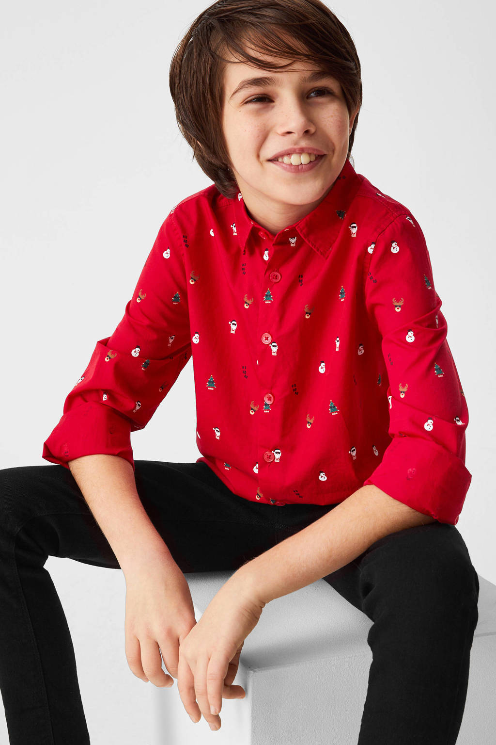 C&A Palomino overhemd met all over print rood/groen, Rood/groen