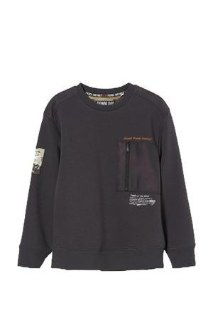sweater met tekst antraciet/wit/oranje