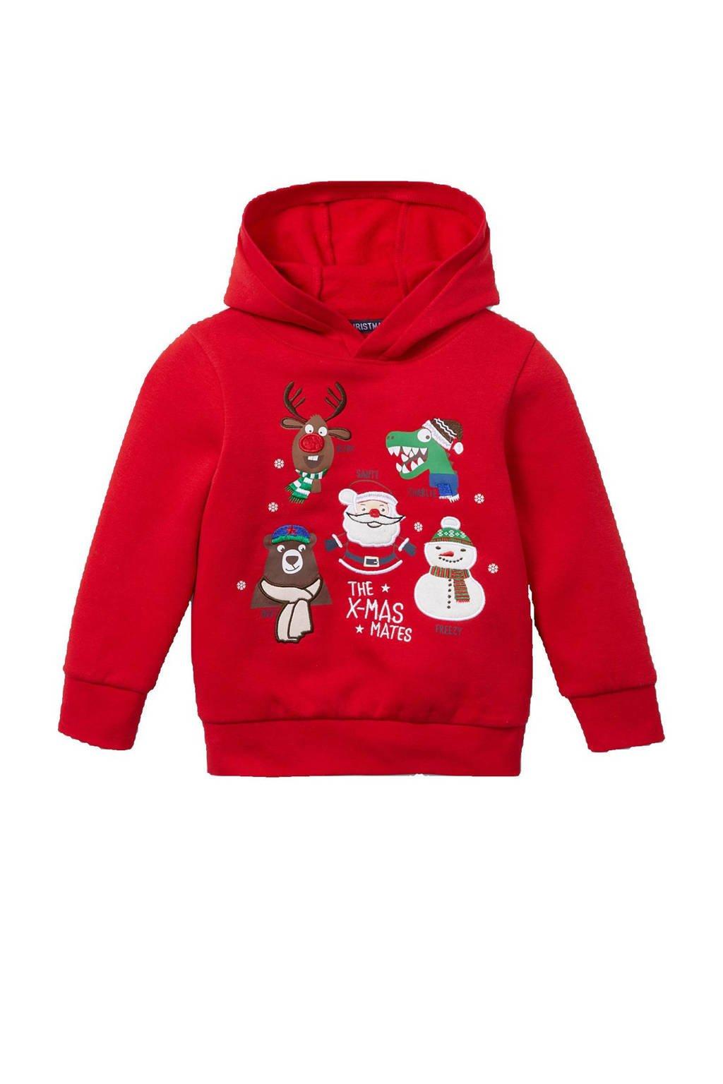 C&A Palomino kersthoodie rood/wit/groen, Rood