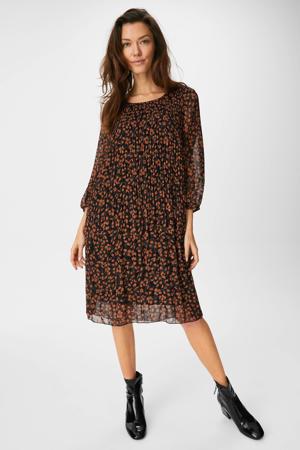 semi-transparante jurk met all over print en open detail grijs/zwart/donker oranje