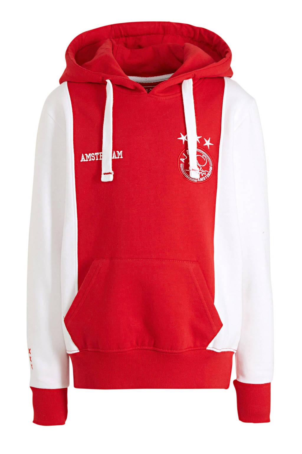 Ajax hoodie met logo wit/rood, Wit/rood