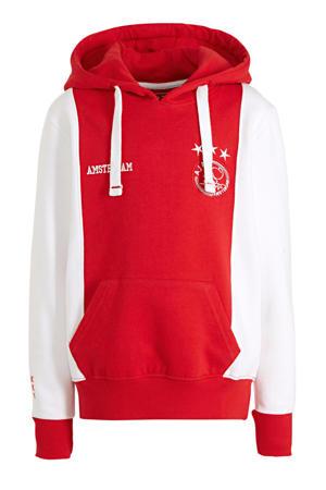 hoodie met logo wit/rood