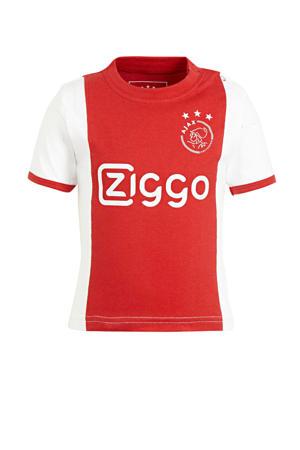 Ajax T-shirt met logo wit/rood