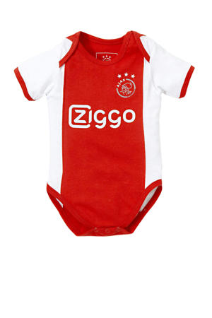 Ajax baby romper rood/wit