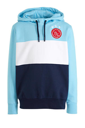 hoodie met logo donkerblauw/lichtblauw/wit