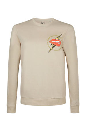 sweater Wild Side Lip met printopdruk lichtbruin