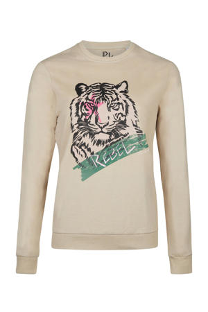sweater Tiger Rebel met printopdruk lichtbruin