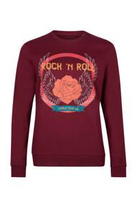 Pinned by K sweater Rock N Roll met printopdruk bordeaux, Bordeaux