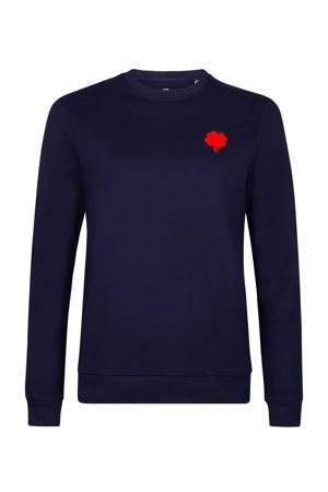 sweater Red Clover met printopdruk blauw