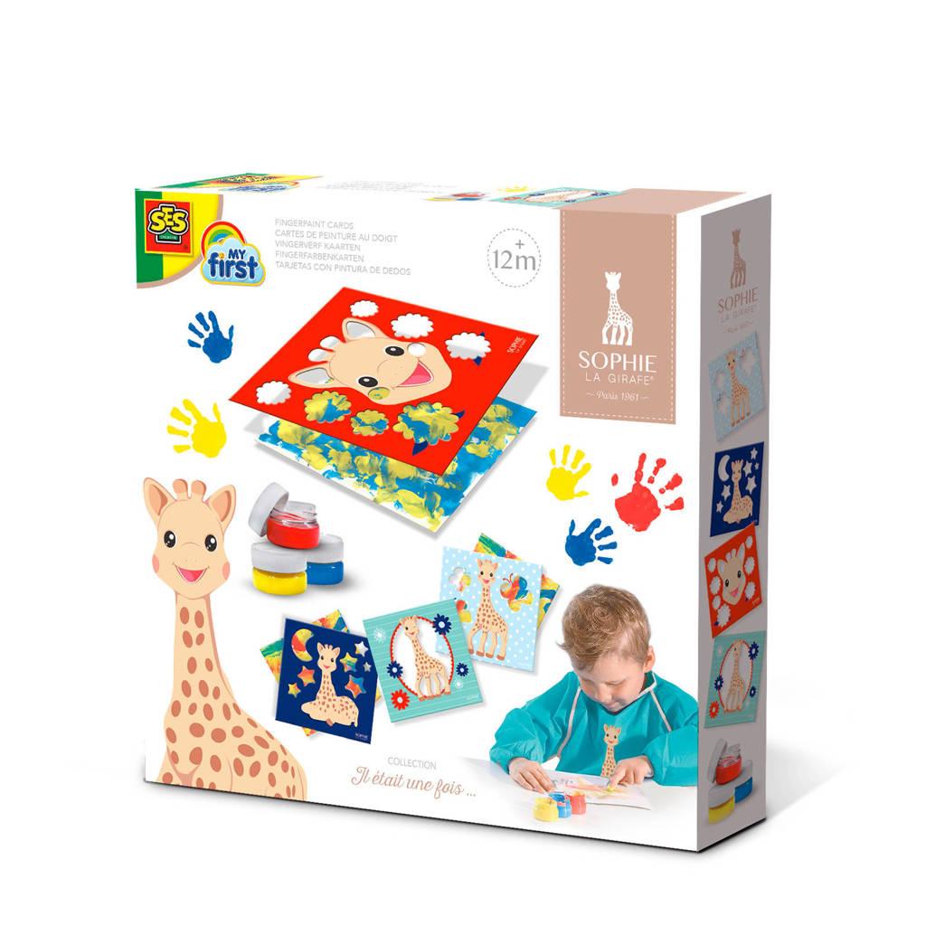 SES Sophie de giraf vingerverf kaarten, Multi kleuren