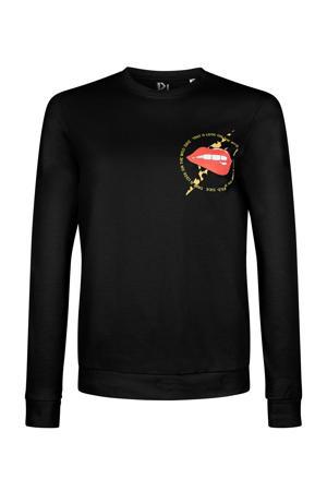 sweater Wild Side Lip met printopdruk zwart