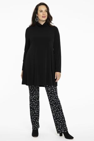 broek met all over print zwart/wit