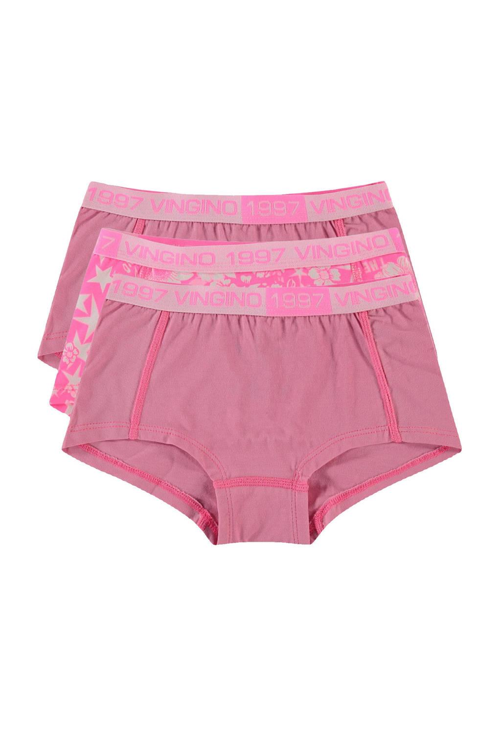 Vingino hipster Lis - set van 3 roze, Neonroze/wit