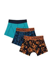 Vingino   boxershort Jungle - set van 3 oranje/blauw, Oranje/blauw