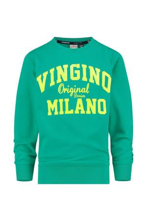 sweater met logo zeegroen/geel