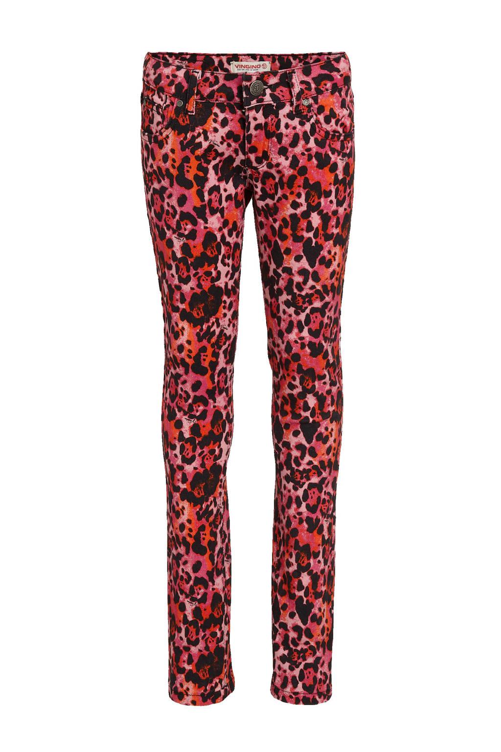 Vingino flared broek Sharlene met all over print roze/zwart, Roze/zwart