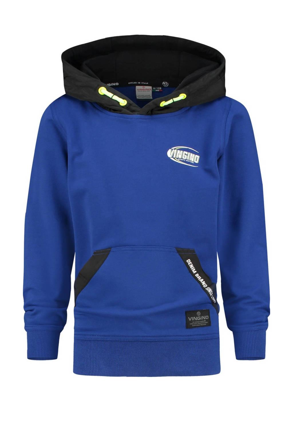 Vingino hoodie Nonano kobaltblauw/zwart, Kobaltblauw/zwart