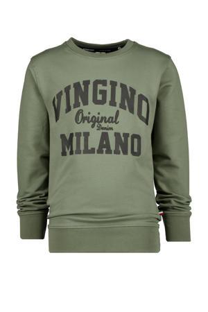 sweater met logo licht army groen/donkerblauw
