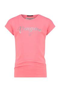 Vingino Essentials T-shirt met logo koraalrood, Koraalrood