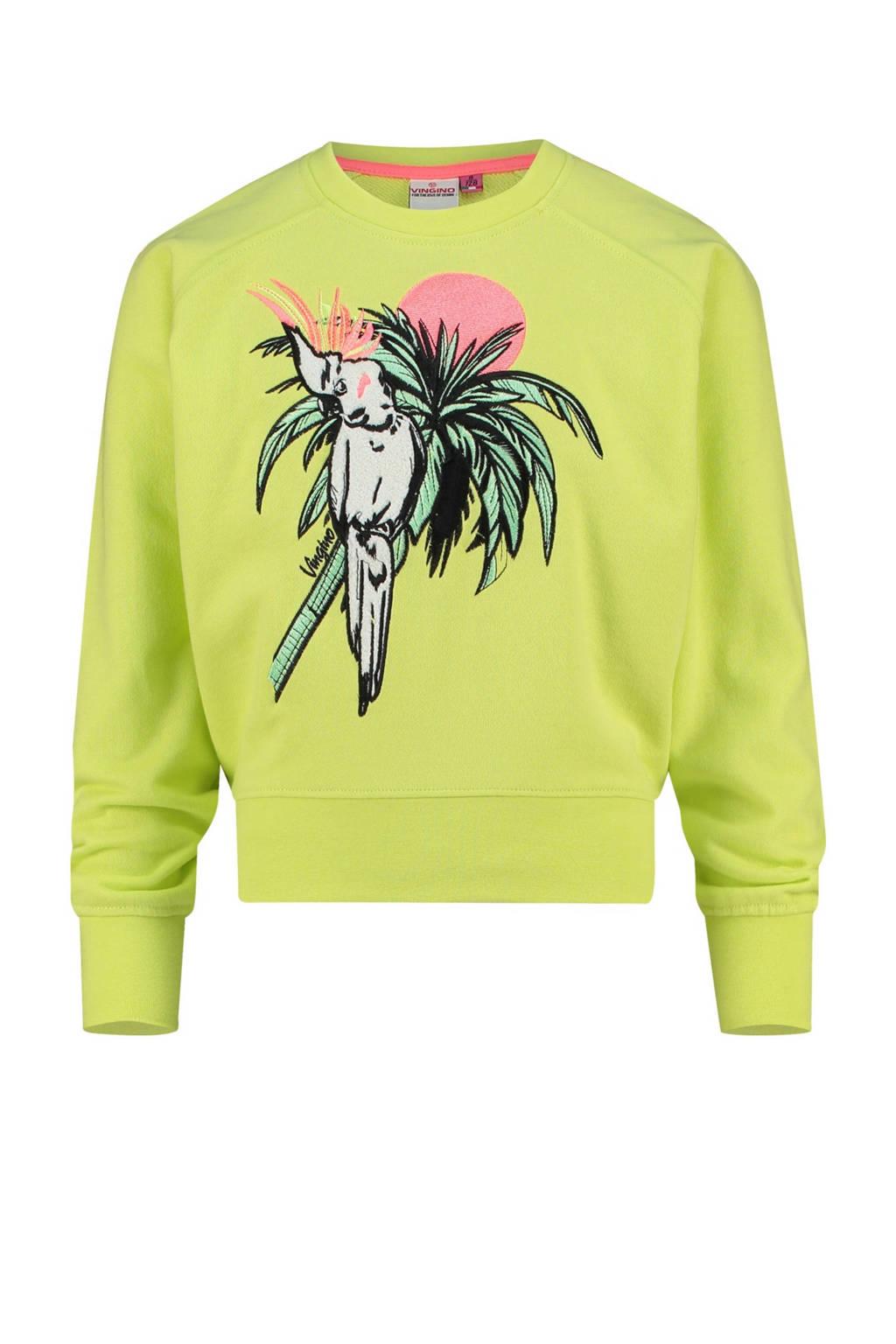 Vingino sweater Nareva met printopdruk neon geel, Neon geel