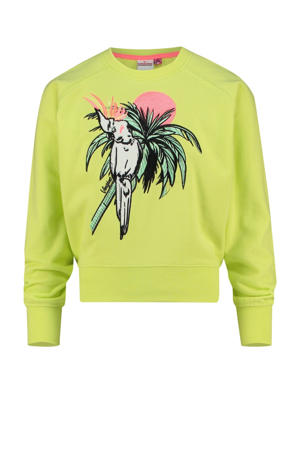 sweater Nareva met printopdruk neon geel