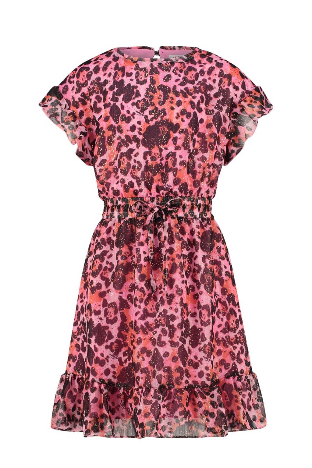 Vingino semi-transparante jurk Princie met all over print en glitters roze/paars, Roze/paars