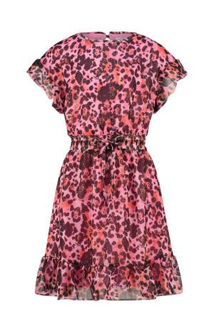 semi-transparante jurk Princie met all over print en glitters roze/paars