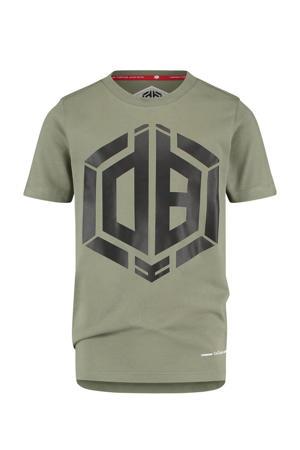 T-shirt Hanios met logo licht armygroen