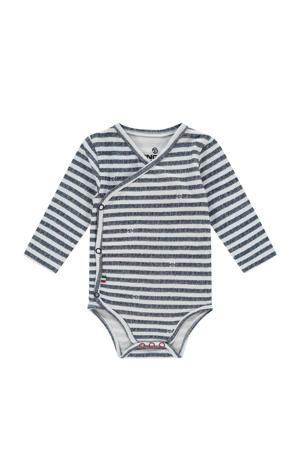 newborn baby gestreepte romper Perry met overslag donkerblauw/wit