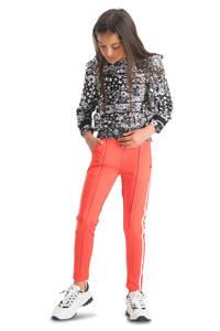 Vingino tapered fit broek Sabella met zijstreep rood/wit, Rood/wit