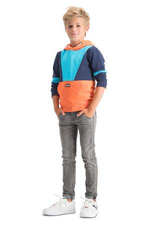 hoodie Naraio oranje/donkerblauw/lichtblauw