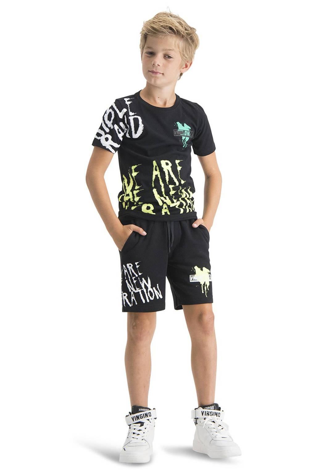 Vingino sweatshort Raff met printopdruk zwart, Zwart