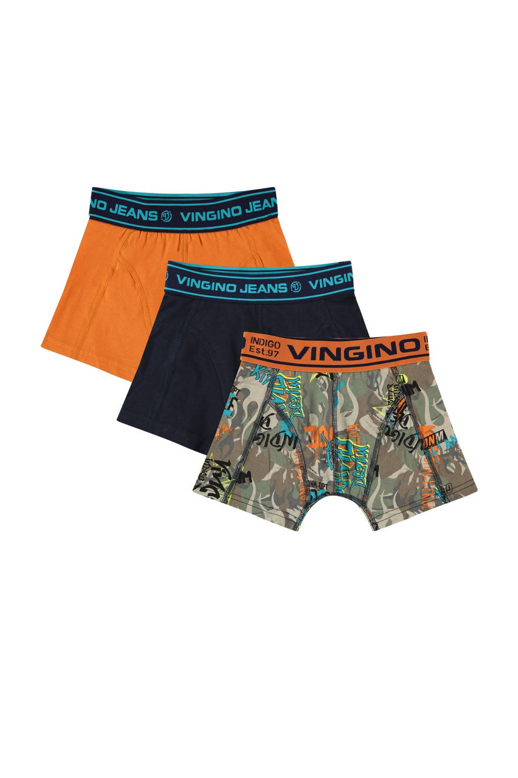 Vingino   boxershort Burning - set van 3 multicolor, oranje/multicolor