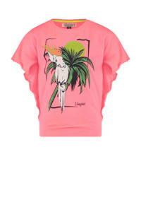 Vingino T-shirt Halina met printopdruk en vleermuismouwen koraalrood, Koraalrood