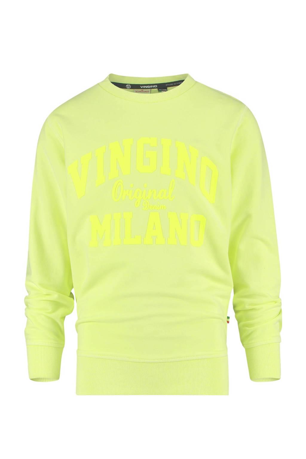 Vingino Essentials sweater met logo neon geel, Neon geel